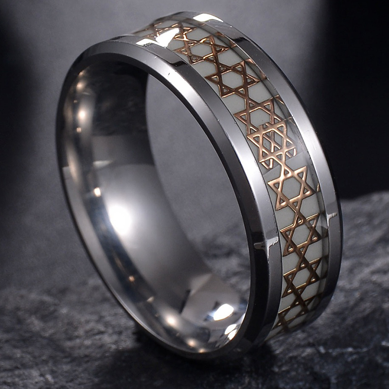 Nextvance Luminous David Star Ring 2 Color Stainless Steel Hexagram Ring Military Promise Jewelry Drop Shipping 3