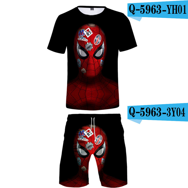 Spriderman Far From Home Men Sets Summer 2019 New Movie Printed Cosplay Sportwear Breathable Tshirt And Short Pants 3d Suits
