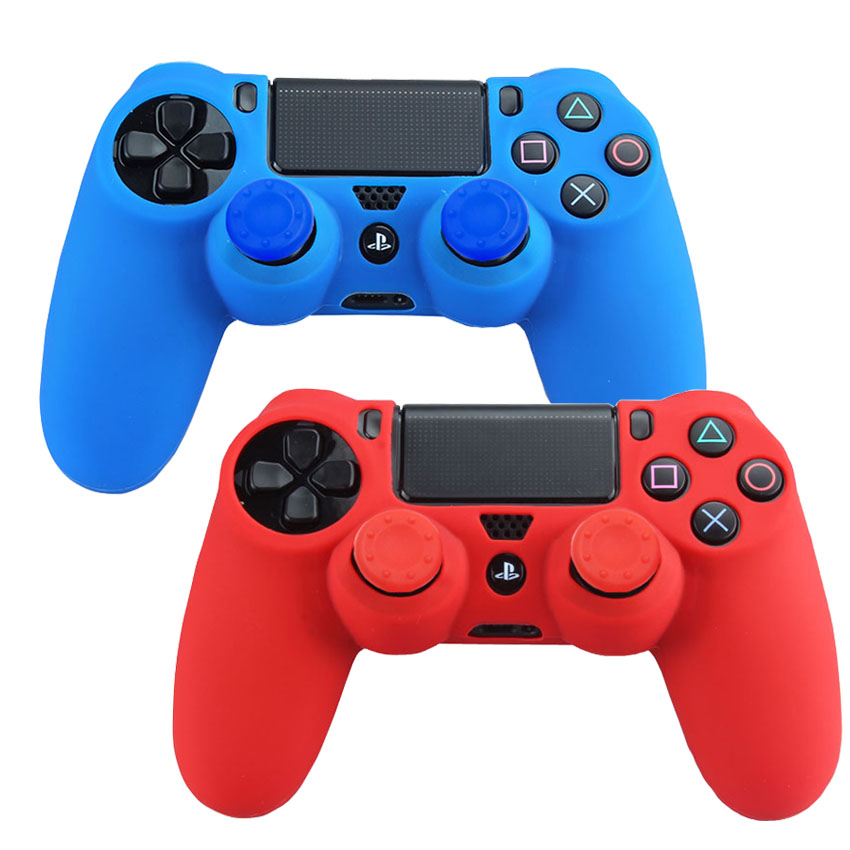 2 Pcs Soft Silicone Cover Protective Case for Sony PlayStation Dualshock 4 PS4 Pro Slim Controller + 4 pcs Joystick Caps