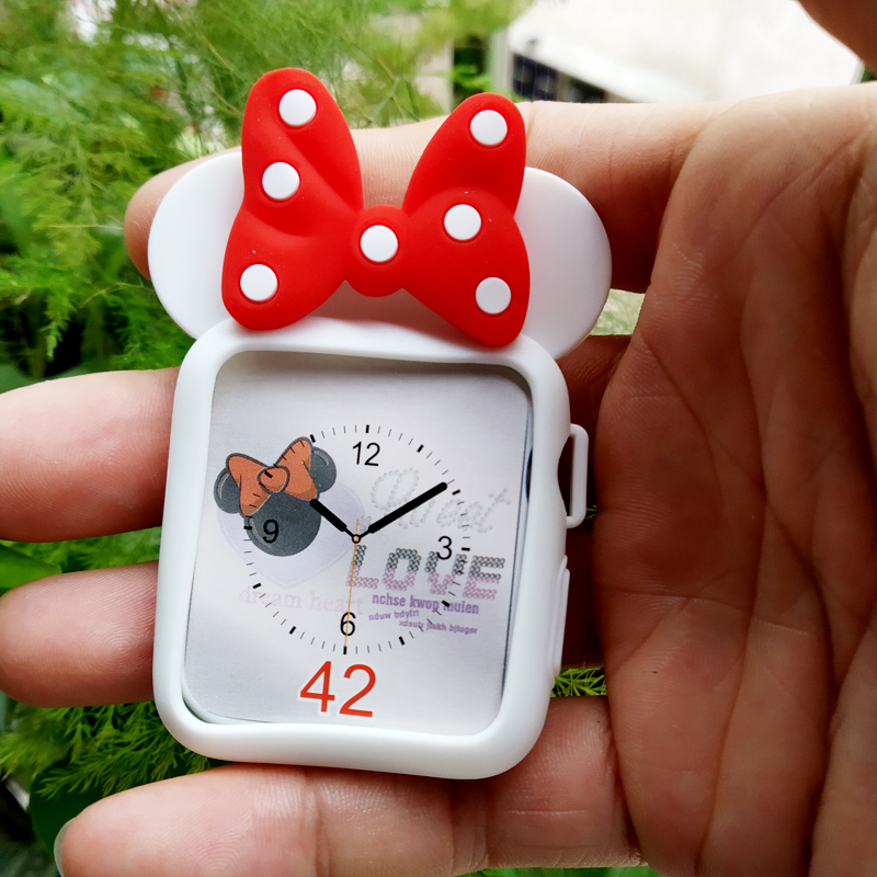купить NEW Cartoon Watch Watchbands Soft Case For iWatch Series 123 Cover For Apple Watch 38mm 42mm Cute Minnie Mouse Bow cases недорого