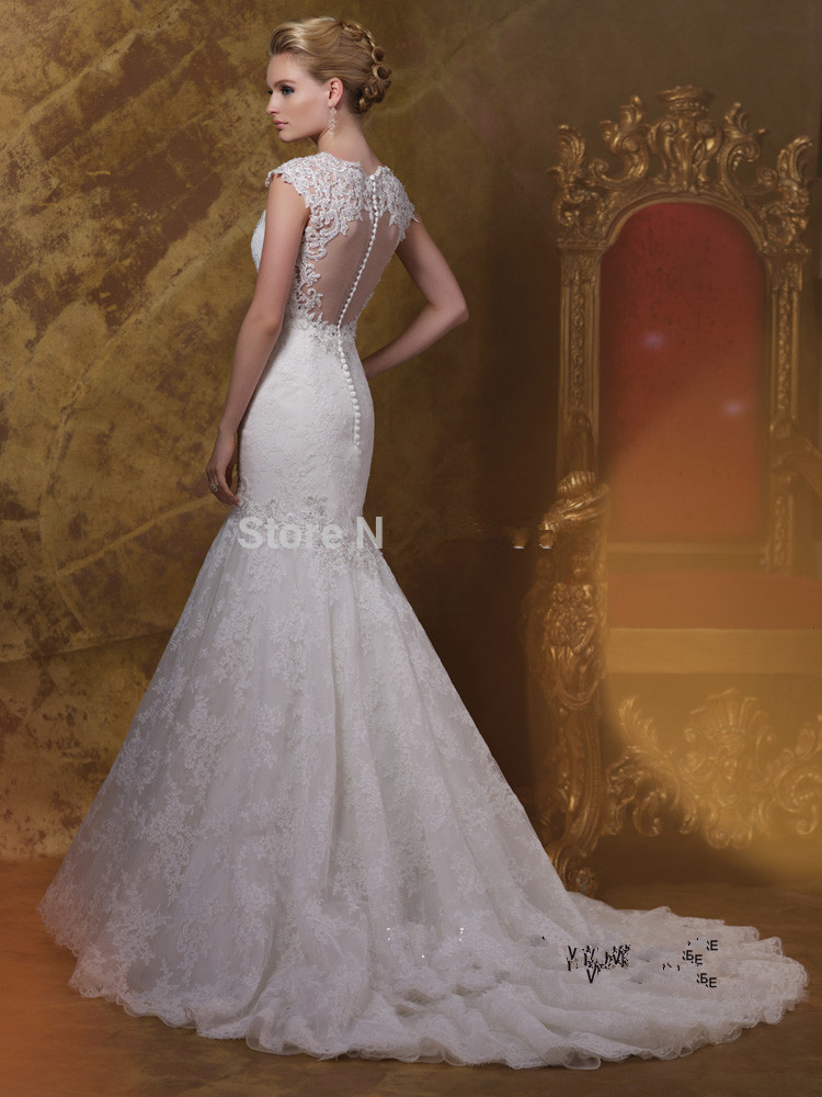 free shipping 2019 Romantic White Mermaid Wedding Dresses Lace Bridal Gowns Cap Sleeve Backless Buttons V Neck Vestido de Noiva in Wedding Dresses from Weddings Events