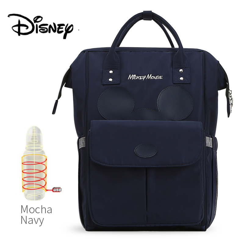 Disney USB Bottle Feeding Travel Backpack Baby Bags For Mom Storage Bag Mummy Bags Mocha Cute