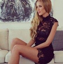 2016 Fashion Sexy Short Lace Cocktail Dresses High Neck Cap Sleeve Sheath Above Knee Length vestidos de fiesta Party Gowns C54
