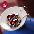 Natural semi-precious stones Princess 925 Sterling silver Vintage Red corundum garnet Retro water drop earrings female Jewelry