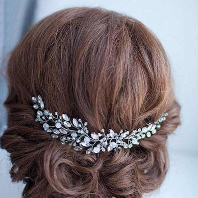 Bridal Wedding Hair Accessories Beaded Crystal Headband Rhinestone Hair Jewelry Ornaments Metal Gold Baroque Headband Bride Clip