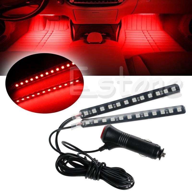 Новый красный 2X12 LED интерьер автомобиля Footwell напольный Декор Атмосфера свет неоновые полоски