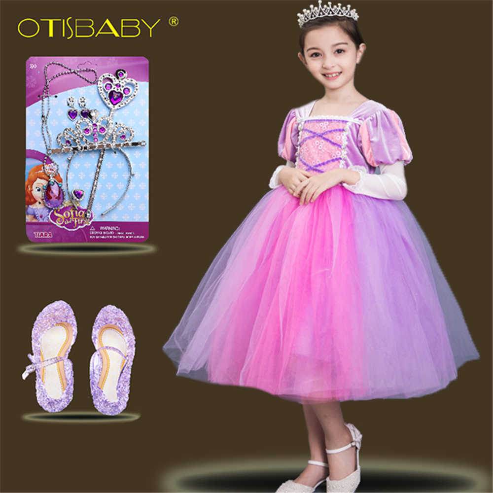 ac5d33ef653d2 2018 Newest Kids Tangled Rapunzel Dress Girls Sofia Princess Dress Rapunzel  Cosplay Costume Child Evening Party Dress