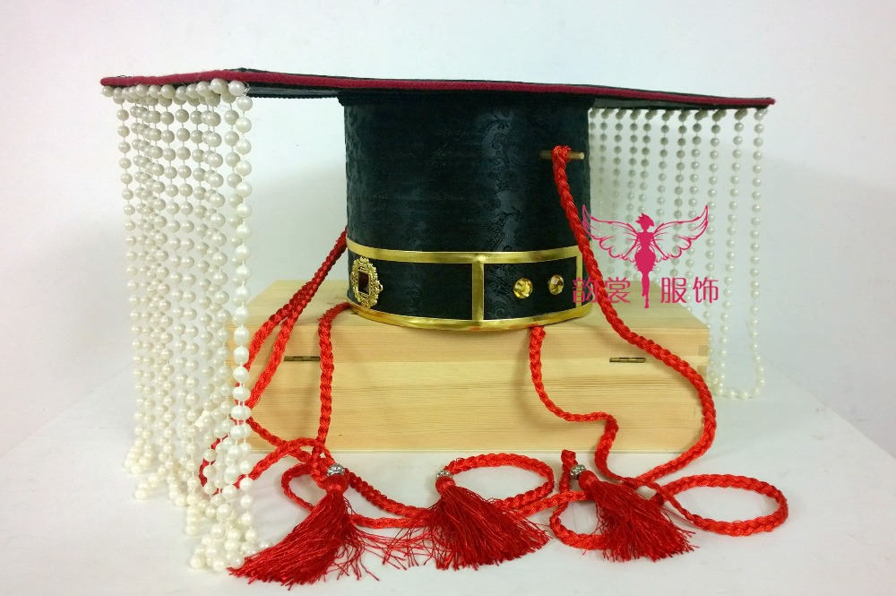 Black Color Grand Male Costume Hair Accessory Hair Piece Beading Curtain Emperor Hat Zhou Dynasty Groom's Wedding Hair Tiaras 03 red gold bride wedding hair tiaras ancient chinese empress hat bride hair piece