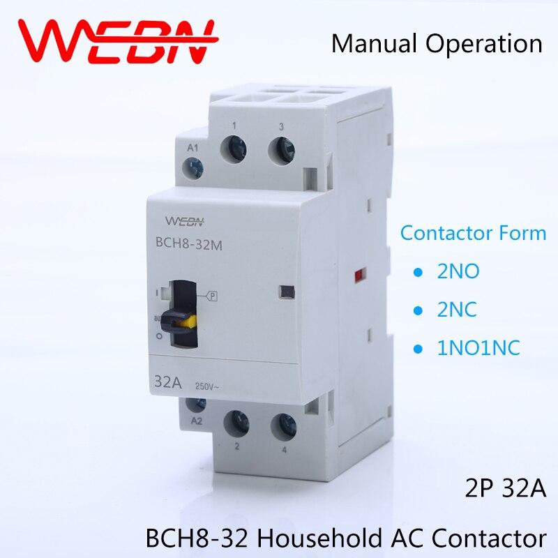 BCH8-32M Série 2 P 32A Manuel AC Ménage Contacteur 220 V/230 V 50/60Hz Contacter 2NO/1NO + 1NF/2NC Din Rail Modulaire Contacteur