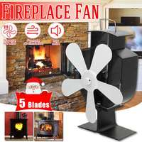 5 Blades White Heat Powered Stove Fan Log Wood Burner Ecofan Quiet Home Fireplace Fan Efficient Heat Eco Stove Top Fan