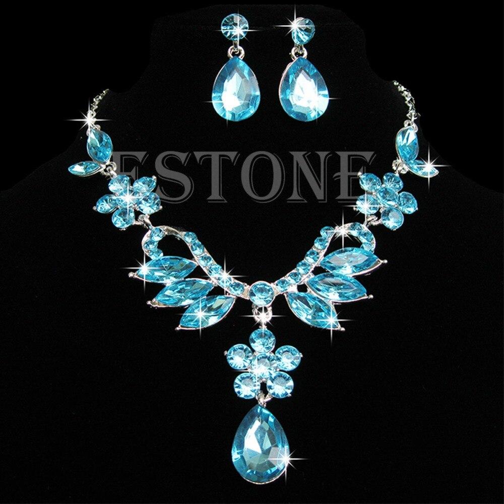 New Prom Wedding Bridal Crystal Rhinestone Necklace Earring Jewelry Set 5 Style