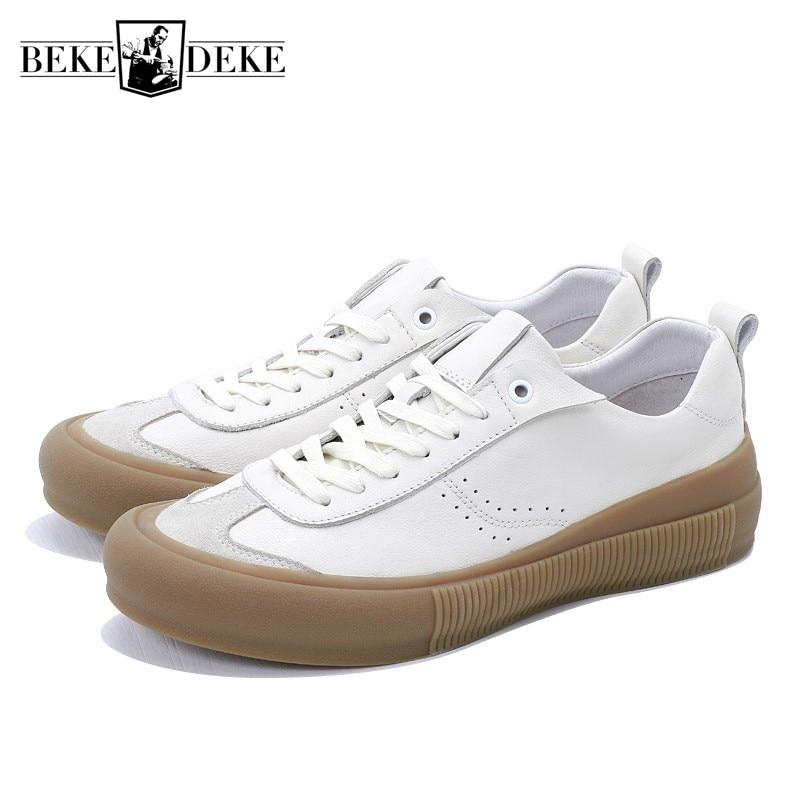 2 Confortáveis Primavera Genuína Marca Apartamentos Redondo Costura Luxo Pé Sapatos 2019 De Branca Do Da Sneakers Dedo Homens Casuais Couro Homme 1 1rxnO1wCqf