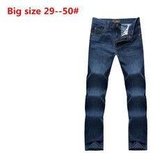 Плюс Большой размер: 50 48 46 44 42 9XL 8XL 7XL 6XL 5XL бренд мужчин джинсы свободные прямые классические случайные бизнес правда жан высокое качество
