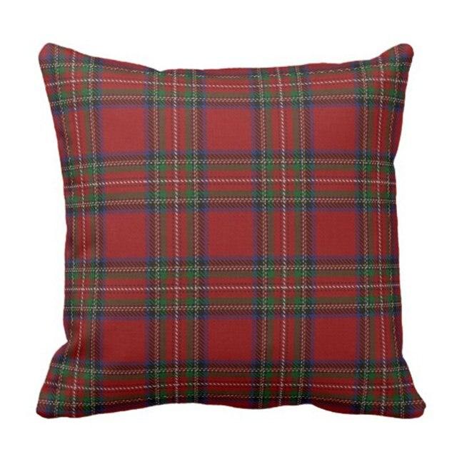 Декоративная наволочка для подушки с шотландским клана и Стюарт из мультфильма «в красную клетку Подушка Чехол в клетку для дома квадратна...