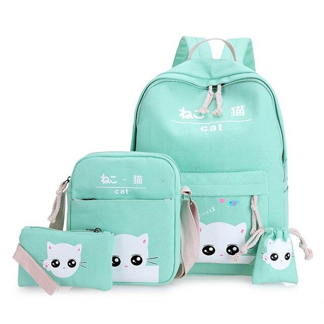 347f444696 Vert chat sacs à dos pour adolescent sac d'école pour filles ensemble 4 vert