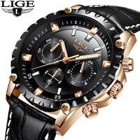 Men's Watch LIGE Top Brand Luxury Men's Military Sports Watch Men's Waterproof Leather Quartz Watch Gold Black Leisure Clock+Box