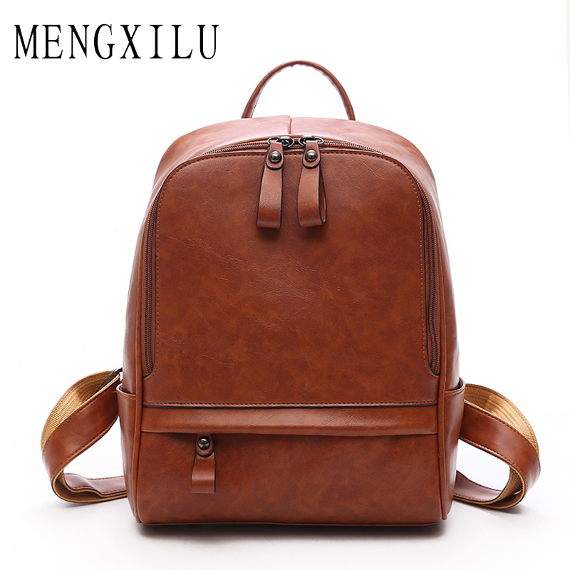 MENGXILU Women PU Leather Backpack Special Cool Zipper Big Bag Simple School Backpack For Girls Multifunction Sac A Dos Femme british style printing vintage backpack female cartoon school bag for teenagers high quality pu leather backpack sac a dos femme