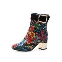 Женские ботинки; сезон осень зима; высококачественные женские ботинки на высоком каблуке 7 см из ткани с принтом и боковой молнией и квадрат