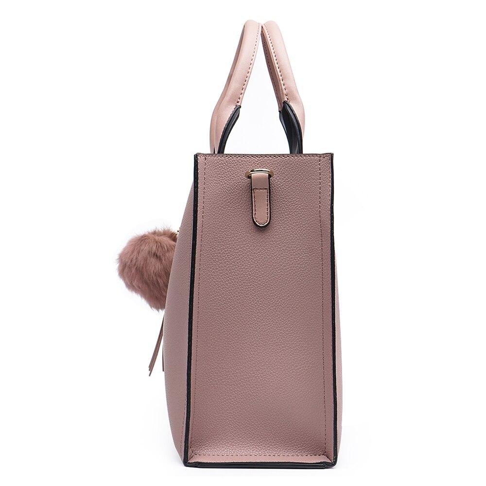 Miyaco marque femmes sac à main fourre-tout sacs pour femmes Messenger sac sacs à main et sacs à main haut en cuir sac à main avec boule de fourrure gland - 4