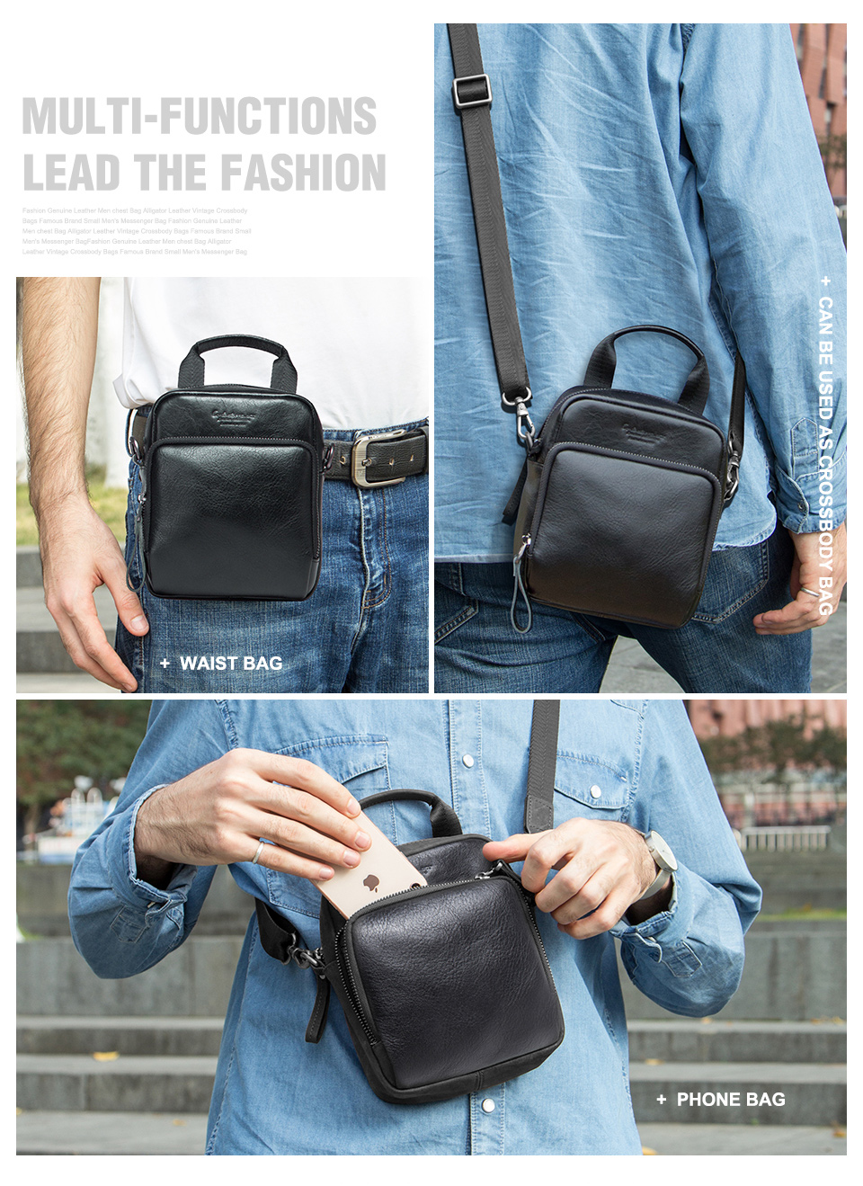 fa176a09dc0 new genuine leather men's shoulder bag casual man's small handbag | eBay