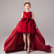 New Childrens Seven Sleeve Embroidery Wedding Party Dress Girls Piano Performance Dress Flower Childrens Birthday Party Dress