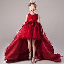 Novo crianças de sete manga bordado vestido de festa de casamento da menina piano desempenho vestido de flor de aniversário das crianças vestido de festa