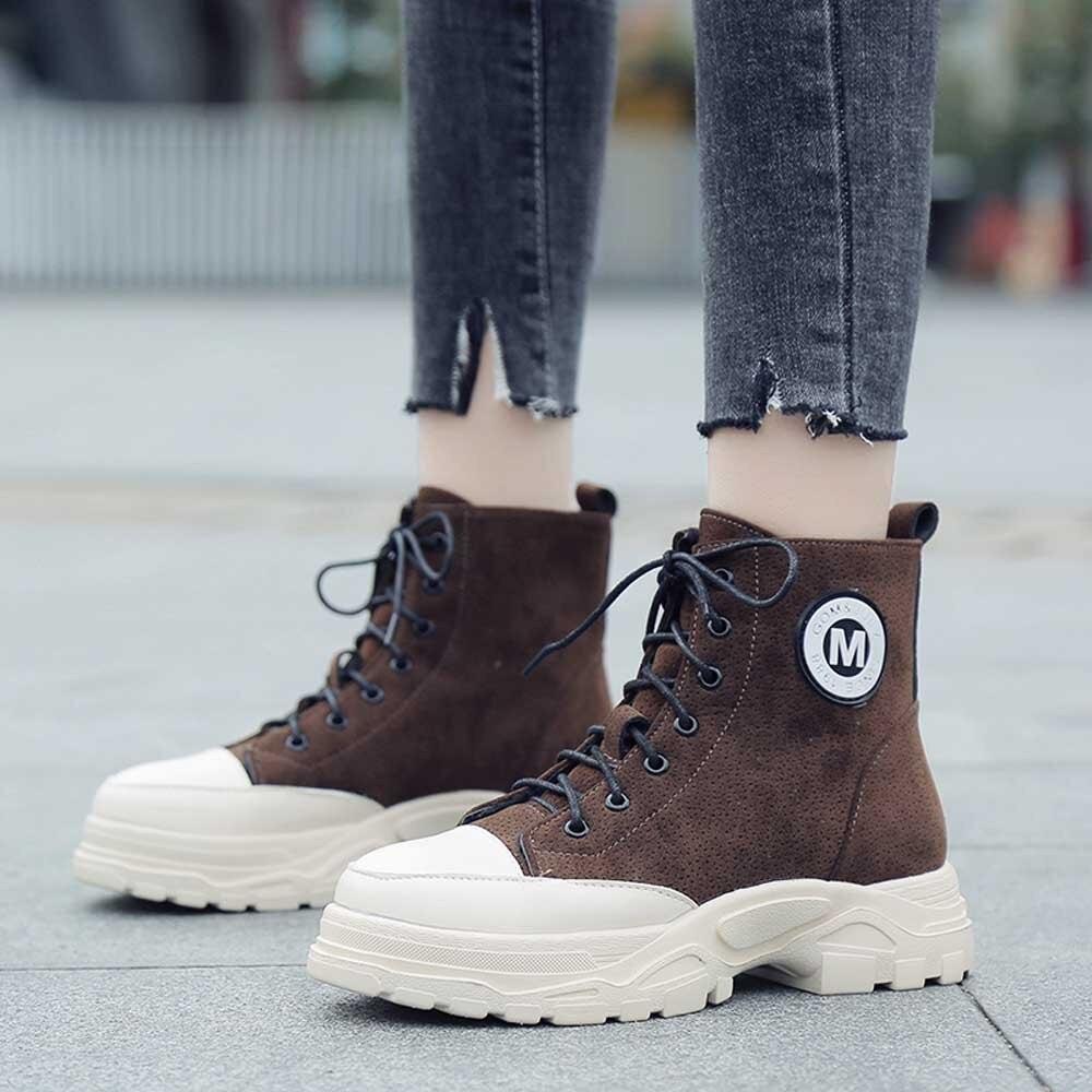 Botas Con Planas Cordones Casuales Cuero Cortas Invierno Youyedian Tobillo Bota Para 2018 Zapatos Mujer marrón Negro Calientes Felpa De Femenina F6q8wr0F