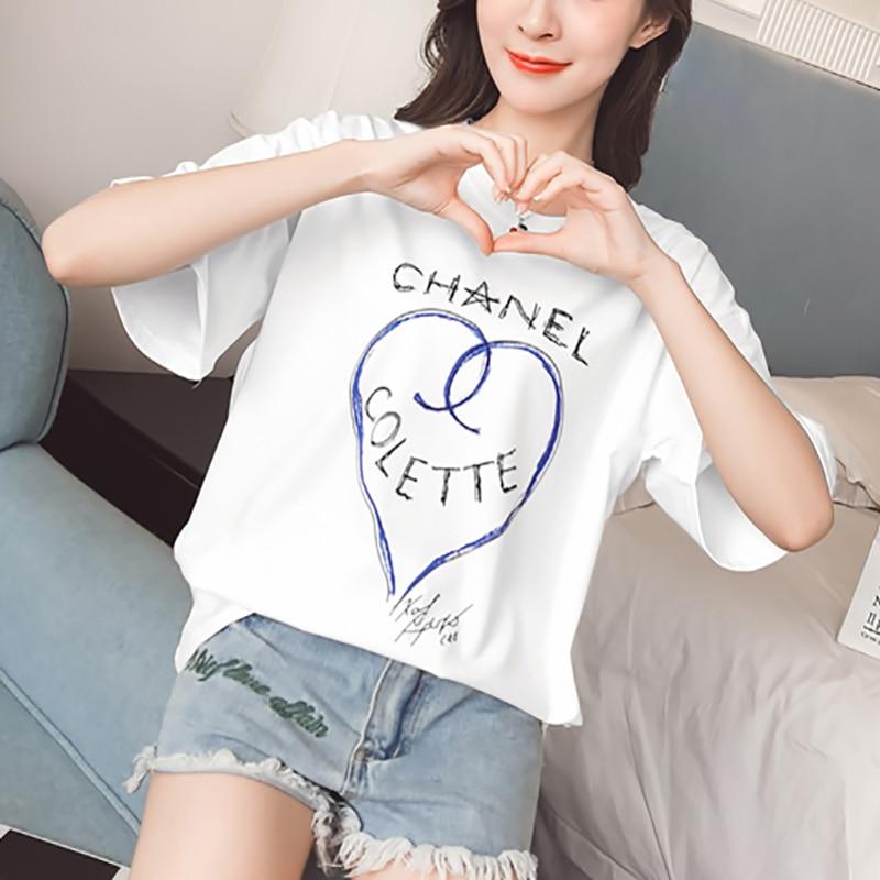 Manica corta delle donne T-Shirt top & tees della ragazza 2019 Nuovo modello plus size Per Il Tempo Libero joker bianco Studente amore di stampa Che Basa camicia