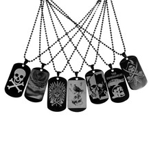 Halloween Necklace New Designer Military Army Necklace Black Dog Tags Chain Skull Skelton Mens Pendant Necklace Card For Gift