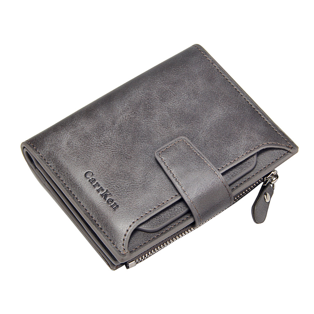 Luxury Trifold Short Wallet For Men Soft Leather Slim Wallets Credit Card Holders Business Small Purse Clutch Money Bag Male