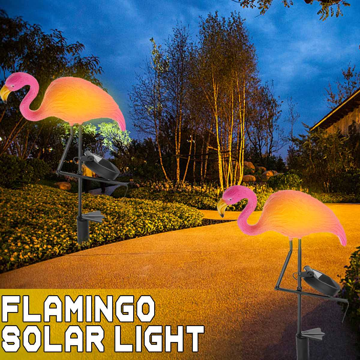 Smuxi Solar Flamingo LED Garden Light Waterproof IP44 Outdoor Plastic + Metal Yard Law Garden Lamp Lighting Decoration