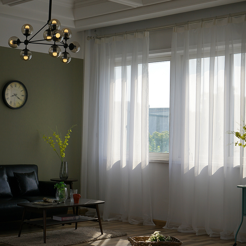 Elka solid white tulle sheer window curtains for living room the bedroom modern tulle organza voile curtains cheap curtains door
