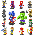 14 unids/set new super heroes iron man spiderman 8.5 cm ladrillos loz diamond building blocks juguetes sin caja original
