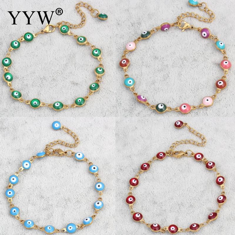 YYW Punk Women Evil Eye Jewelry Bracelet Vintage Gold-color Colorful Enamel Religious Turkish Evil Eye Charm Wristband Bracelets