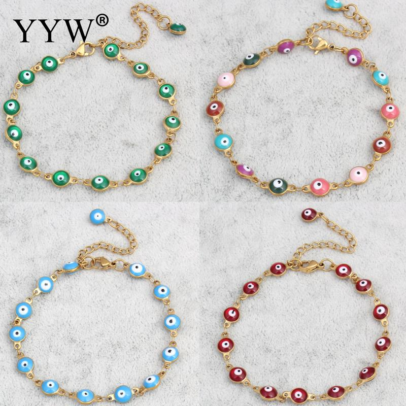 YYW Punk Women Evil Eye Jewelry Bracelet Vintage Gold-color Colorful Enamel Religious Turkish Evil Eye Charm Wristband Bracelets