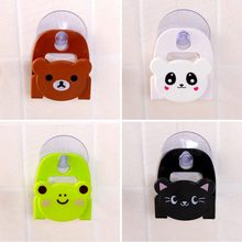 Cute Kawaii Cartoon Bear Wall Mounted type Bath Storage Box Animal Cat Soap bar Holder Kitchen Tools Sponge Drain shelf #265810(China)