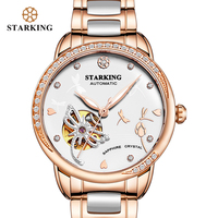 STARKING Brand Luxury Watch Mechanical Women Skeleton Automatic Watch Rose Gold Ladies Wristwatch Female Clock Relogio Feminino