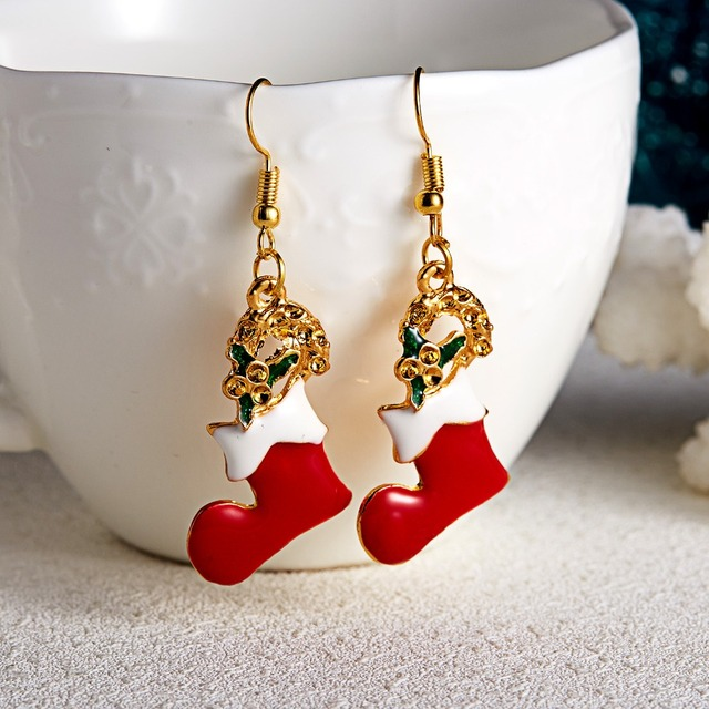 Christmas Shoes Shaped Hook Earrings