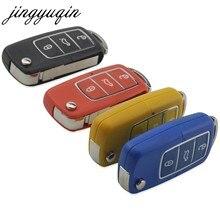 Jingyuqin-funda plegable con tapa de 3 botones carcasa de llave a distancia de coche para Volkswagen, VW, Jetta, Golf, Passat, Beetle, Polo, Bora, Fob