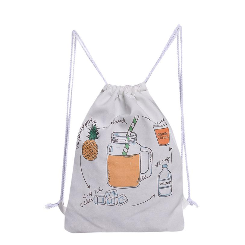 Canvas Drawstring Backpack Large Tote Canvas Backpack Bag Wholesale #T