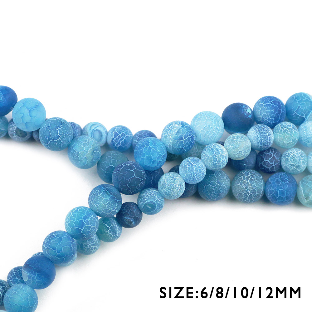 WLYeeS Natural Stone Lake blue Weathered carnelian Round 6 8 10 12mm Religious Frosted Loose Beads Jewelry Bracelets Making DIY in Beads from Jewelry Accessories