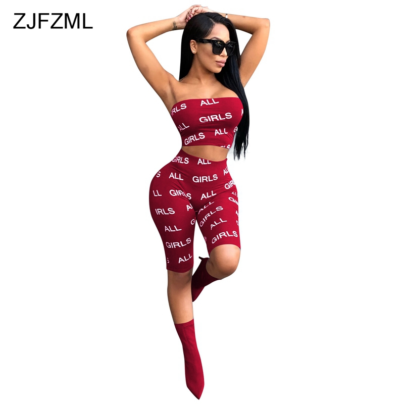 ZJFZML Two Piece Set 2018 Letter Print Strapless Crop Tops+ Shorts Sweat Suits Sexy Tracksuit Summer 2 Piece Outfits For Women