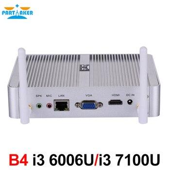 Новейший Intel 14nm i3 6006U i3 7100u безвентиляторный мини ПК HTPC мини ПК с HDMI VGA