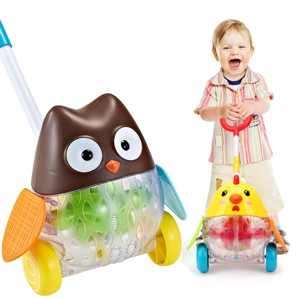 Baby Toys Push & Pull Baby Toddler Toys Birds Horizontal Slide Infant Kids Early Development Single Rod Hand Pushed Cartoon Cart