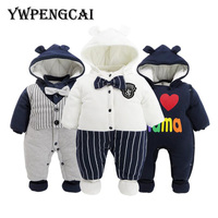 YWPENGCAI Autumn Winter Baby Warm Thick Rompers Fashion Style Newborn Infant Cartoon Clothes With Hat Baby Boy Rompers #7JF0590