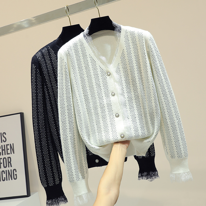 Woman Sweater Cardigan Knitted Coat Long Sleeve V-neck Jacket Cardigans Girls Ladies Diamond-encrusted Sweater Coat Spring 2019