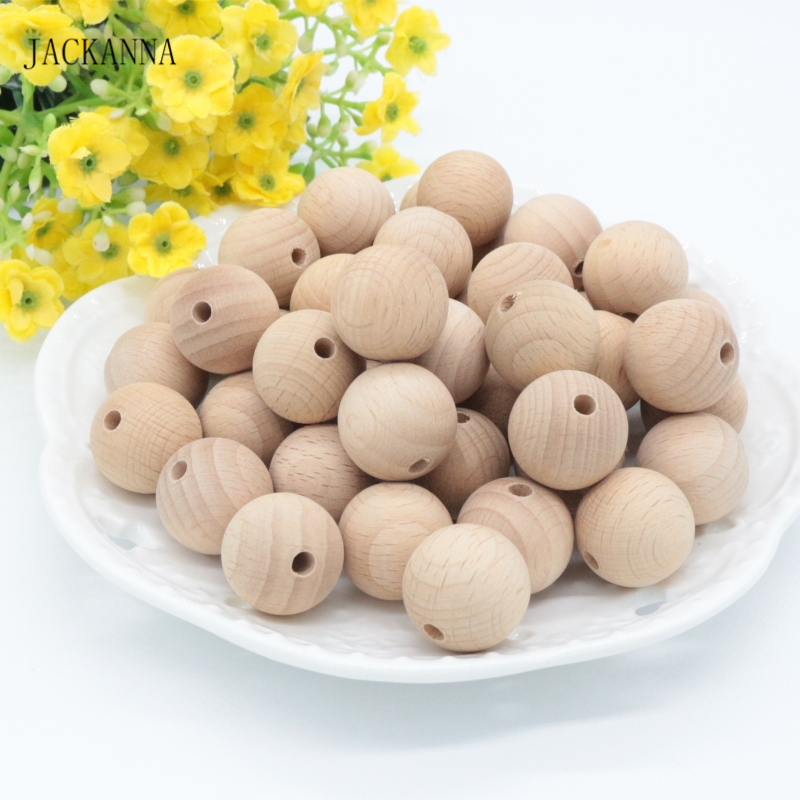 20PCS 20MM Round Natural Wood Beads, DIY Beech Wooden Baby Teether Toys, Wood Teething Beads For Necklace Pacifier Clips Making