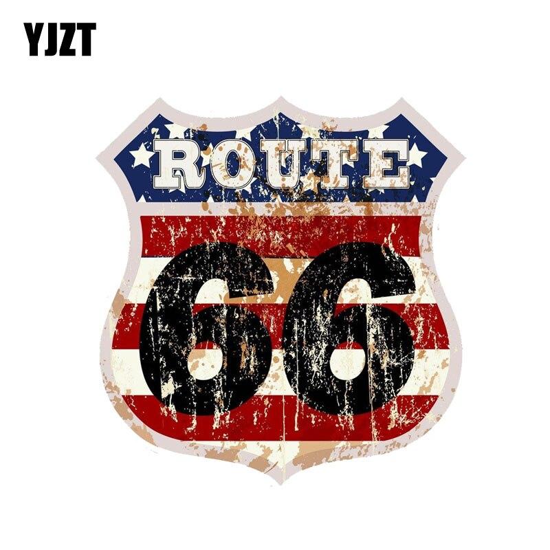 YJZT 14.7CM*15.2CM Fashion Decoration Route 66 PVC Car Motorcycle Sticker 11-00241