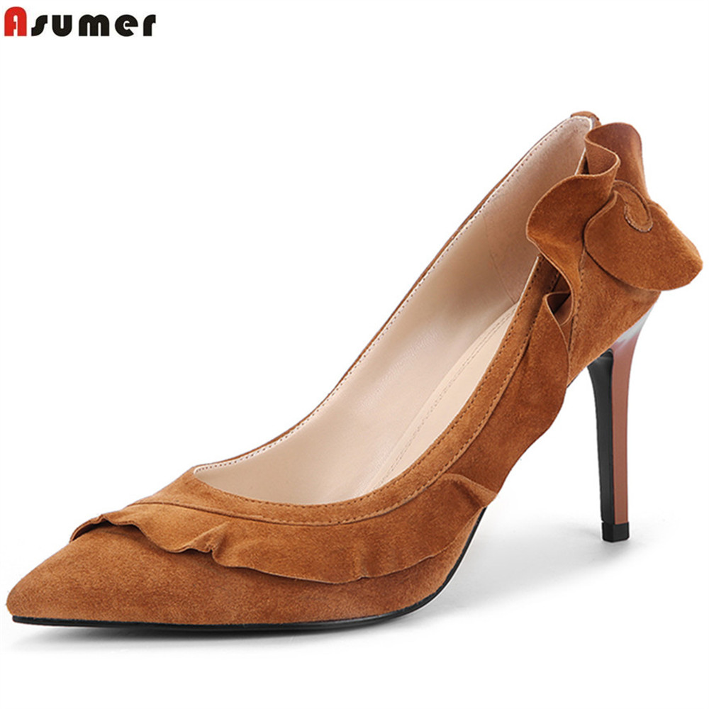 ASUMER black brown fashion spring autumn new pumps shoes pointed toe shallow elegant shoes women suede leather high heels shoes 2017 women strange autumn brown abnormal evening pointed toe blue catwalk high heels pumps size 4 34 stiletto medium fashion new