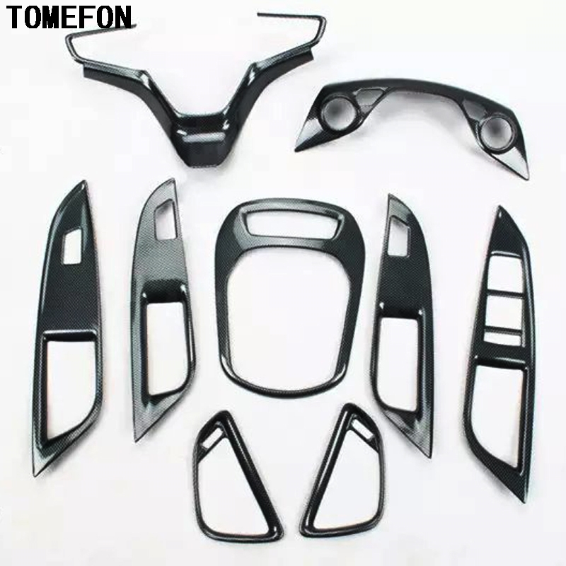 TOMEFON For Chevrolet Cruze 2015 ABS Carbon Fiber Paint Interior Front Middle Gear Shift Window Switch AC Vent Trim ...